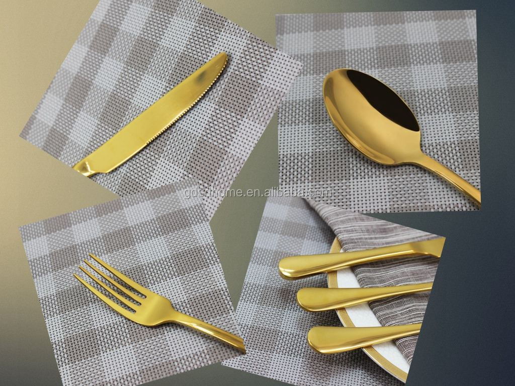 Dishwasher safe wholesale bulk flatware 18/10 stainless steel gold silverware 4 pcs golden cutlery set tableware