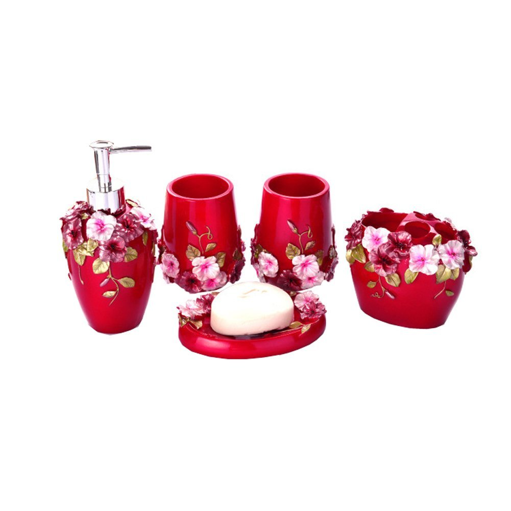 Country Style Resin 5PC Bathroom Accessories Set Soap Dispenser/Toothbrush  Holder/Tumbler/Soap