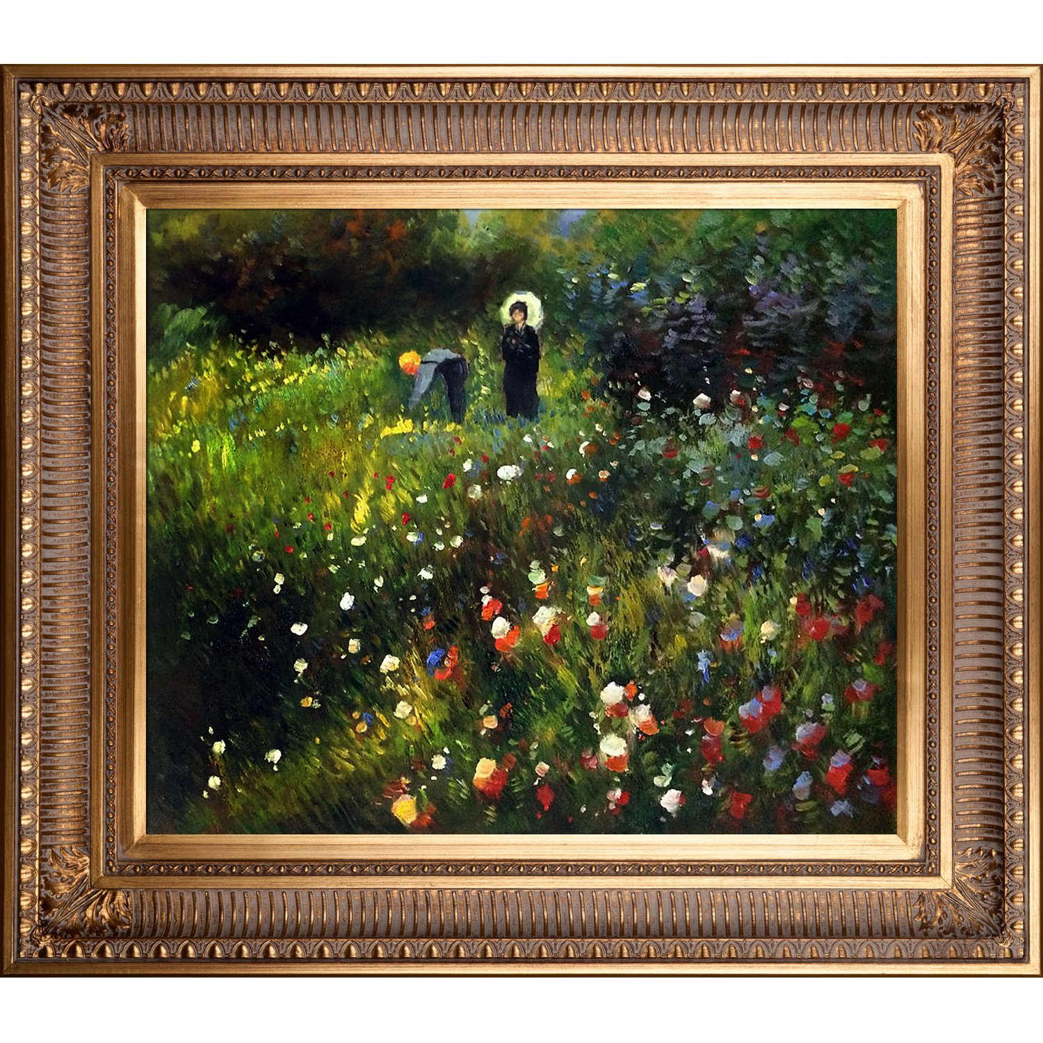 overstockArt Woman Oil Painting with a Parasol in a Garden Frau mi Sonnenschirm with Regal Gold Frame by Renoir