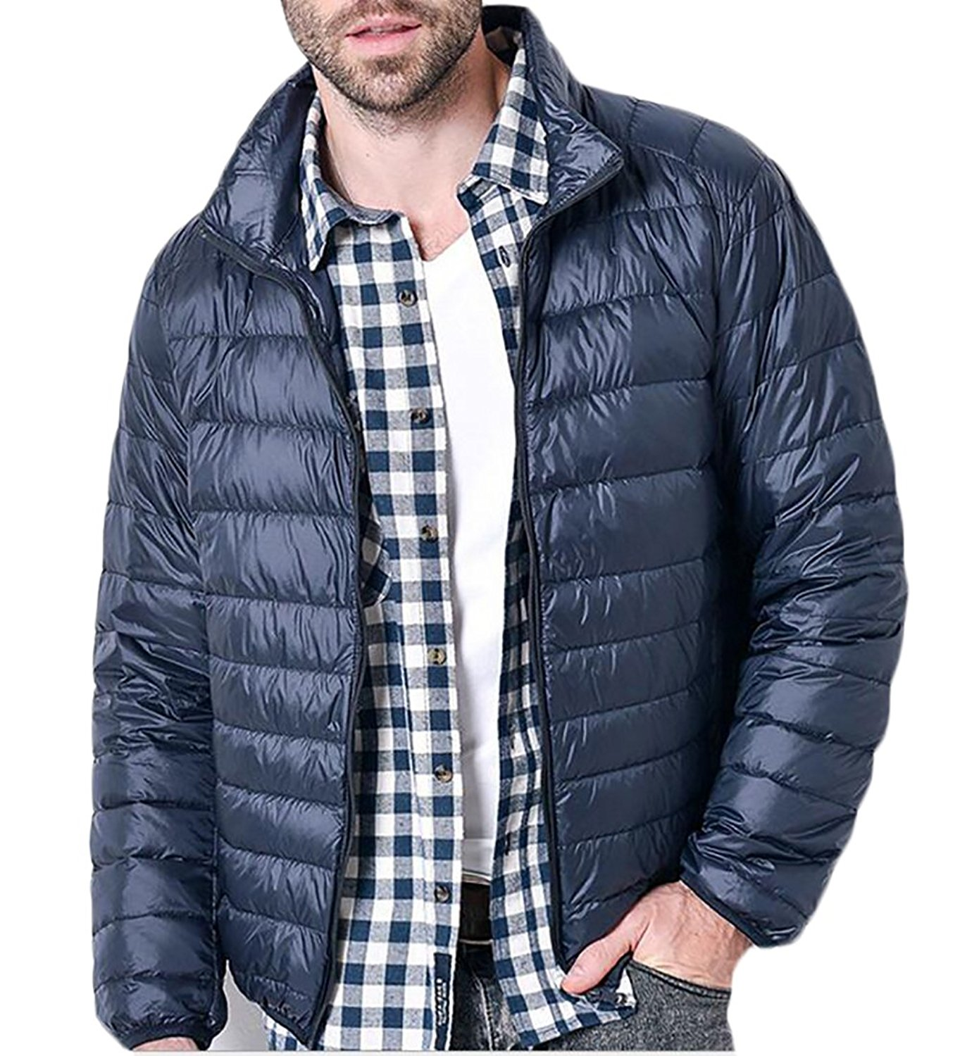 XTX Mens Winter Thicker Stand Collar Plus Size Relaxed Fit Down Quilted Coat Outerwear
