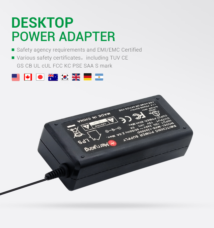 TUV GS Certified 5A 12V Desktop Adaptor 60W AC DC Power Adapter