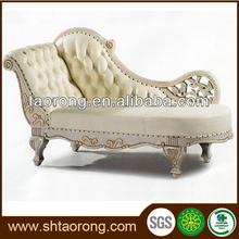 China factory direct wooden white antique French chaise lounge