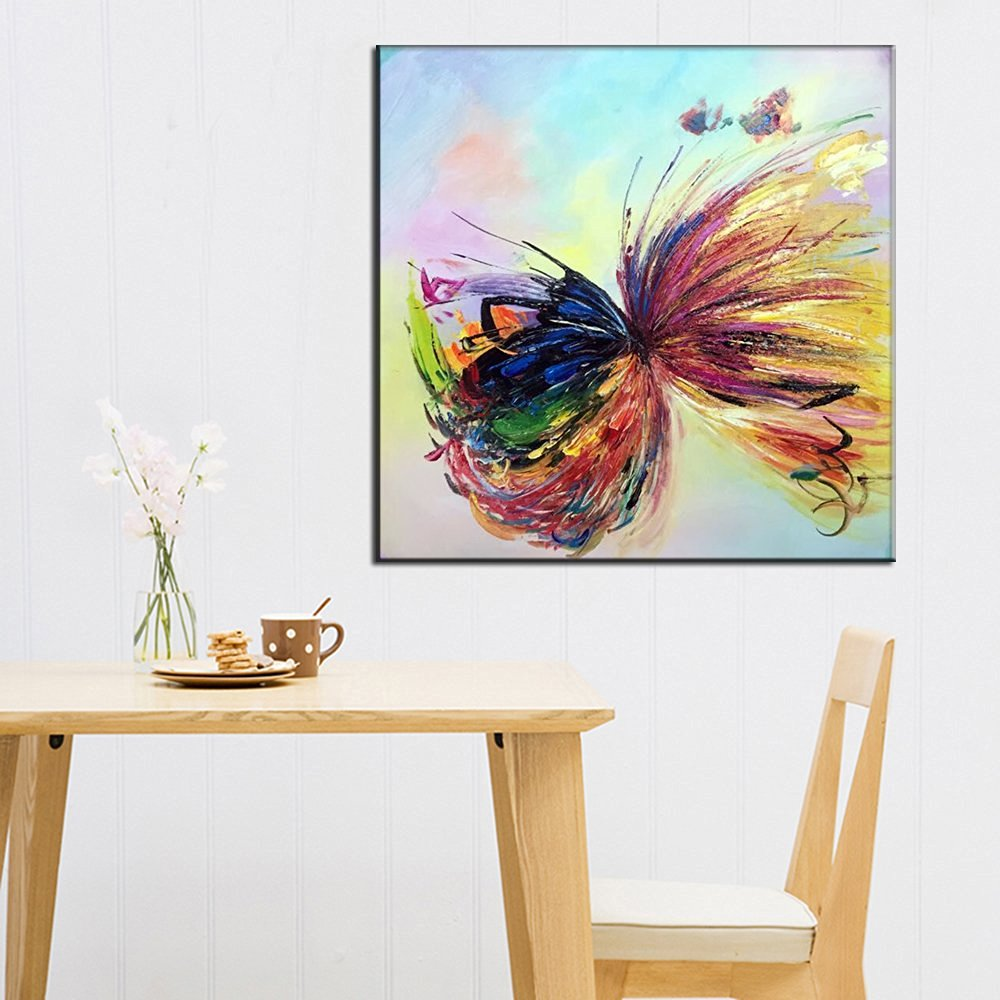 Osm Art Handmade Butterfly Animals Oil Painting on Canvas Hang Picture Abstract Knife Wall Art for Living Room Decor Modern Colorful Painting No Frame Paintings