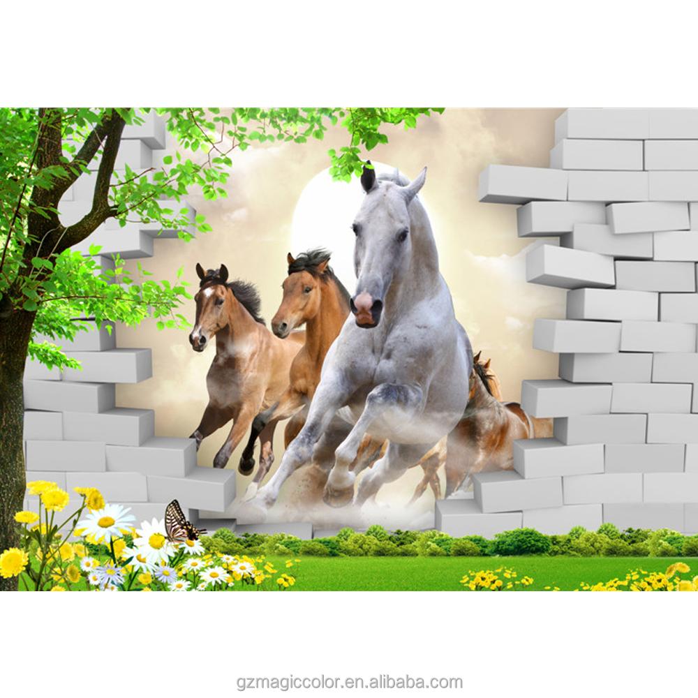 Rennend paard met baksteen behang muurschilderingen 3d voor huisdecoratie wallpapers wand - Afbeelding van huisdecoratie ...