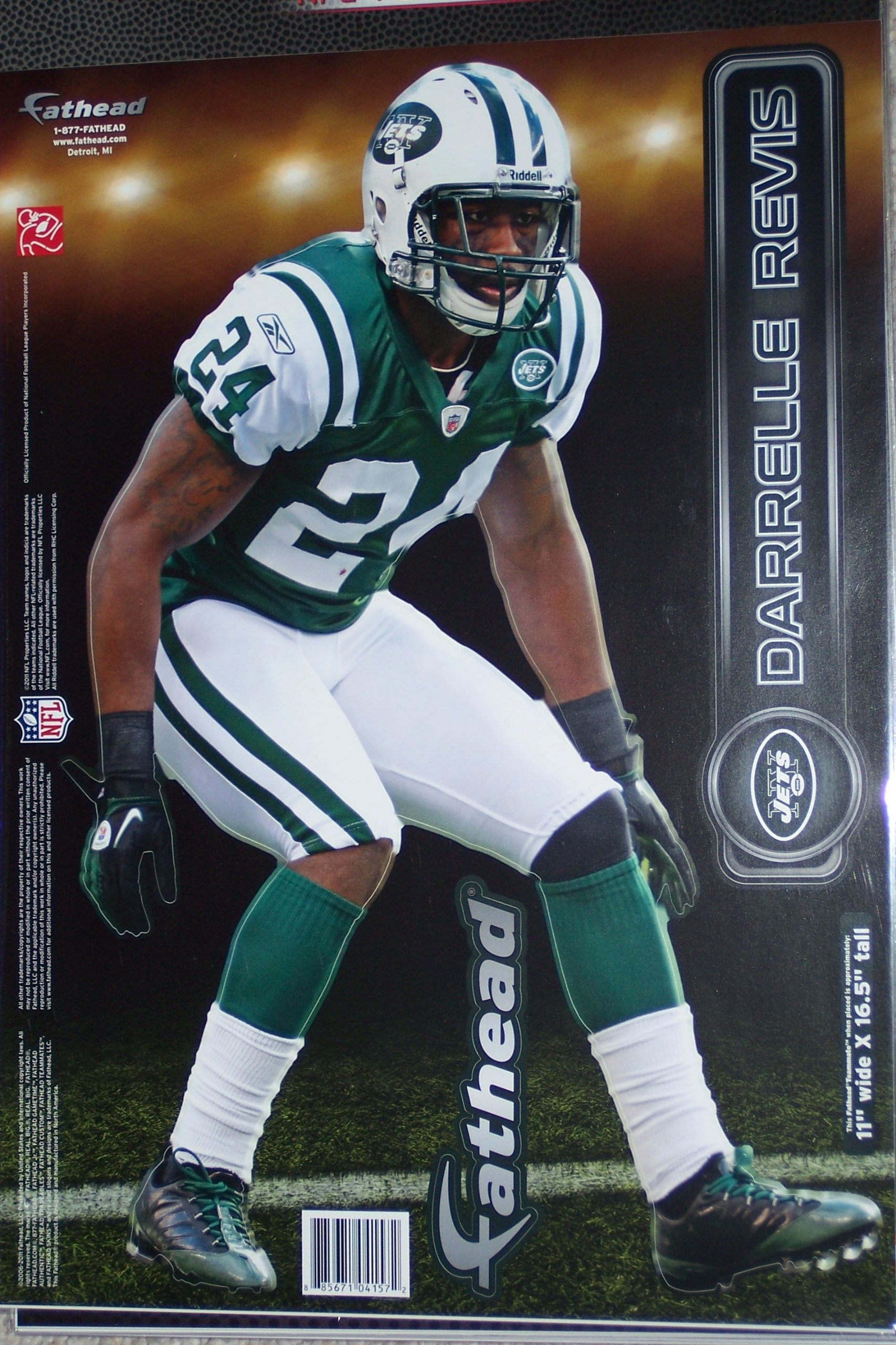 17a1b3b65 Darrelle Revis New York Jets FATHEAD Official NFL Vinyl Wall Graphic 16 INCH
