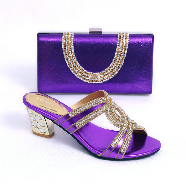 Purple Latest Design Italian Shoeatching Bags For Party Good Quality Women Shoe And Bag With Rhinestone Shoes In Price On