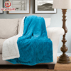 Christmas plain simple design blanket, jacquard throw blanket with compesite pile