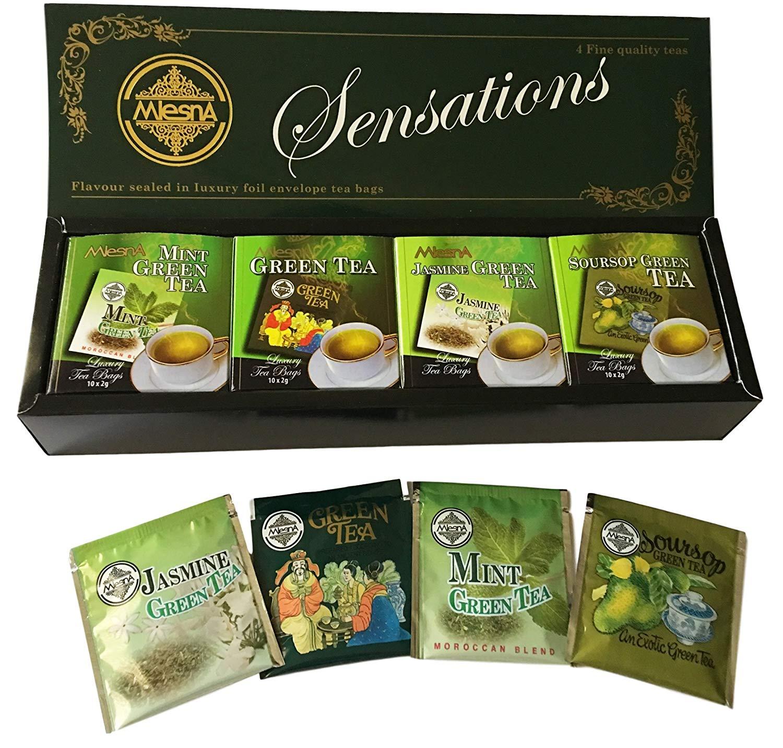 Mlesna Pure Ceylon Foil Envelope Green Tea Selection, Jasmine, Soursop, Mint and Green Tea - 40 Count
