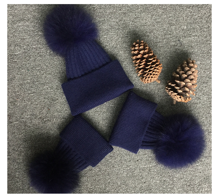 Raccoon fur pom kids crochet cap beanie winter hat and cap with top ball