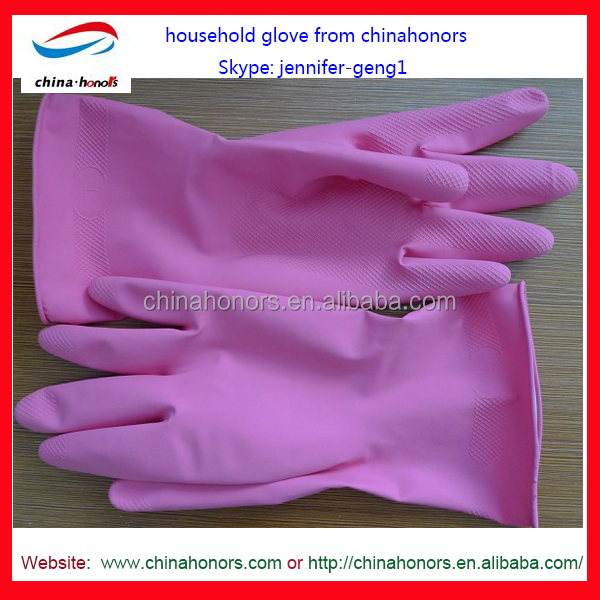 unlined pink latex household gloves/Colorful Flock Lined Latex Household Gloves