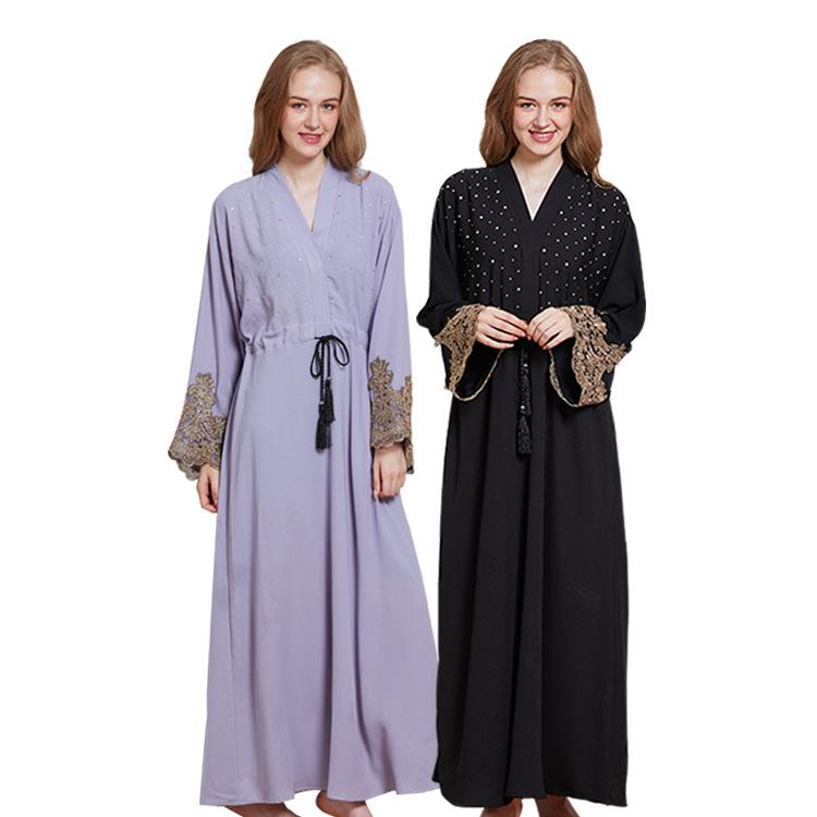 Alibaba.com / Muslim Diamonds Beading Cardigan Abaya Full Dress Kimono Long Robe Gowns Jubah Dubai Middle East Ramadan Arab Islamic Clothing
