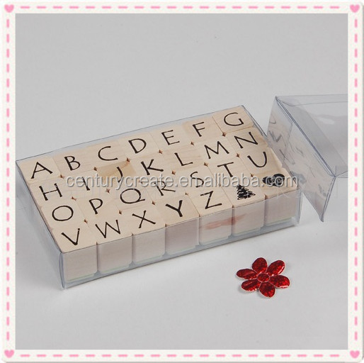 Alphabets wooden rubber stamps kit for children