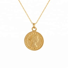 Miss Jewelry Simple Stainless Steel Elizabeth Round Pendant Jewelry Gold Coin Pendant Necklace