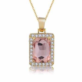 Big Stone Pink Gold Pendant Design For Men s Women s Hip Pop Jewelry ... 78fdbcd18