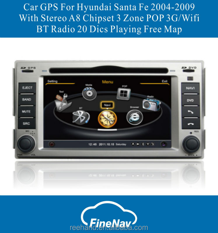 Car GPS dvd system For Hyundai Santa Fe 2004-2009 With Stereo A8 Chipset 3 Zone POP 3G/Wifi BT Radio 20 Dics Playing Free Map