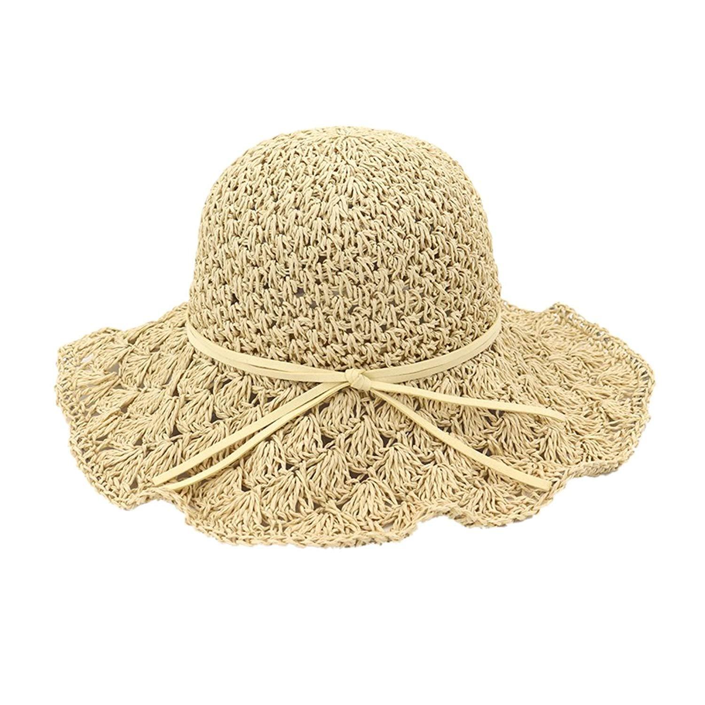5f1dc49c813 Get Quotations · Zhuhaitf Women Floppy Straw Hat Summer Beach brimmed  Crushable Foldable Sun Hat