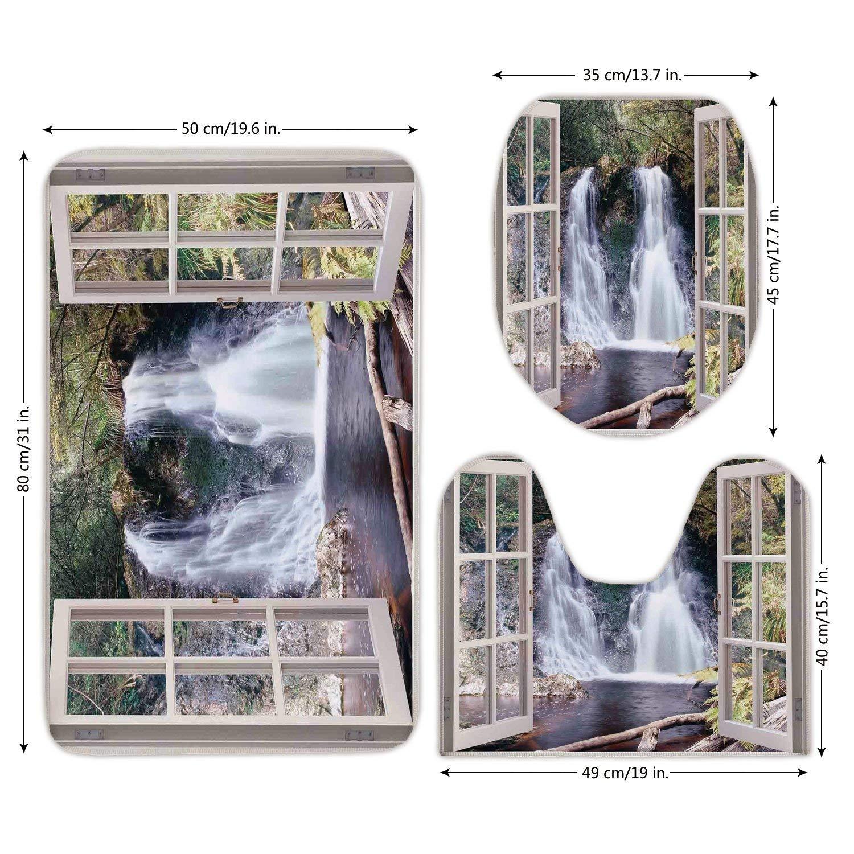 3 Piece Bathroom Mat Set,House Decor,Little Waterfall Nestled in the National Park Panoramic Fresh Environment River Scenery,Brown Green,Bath Mat,Bathroom Carpet Rug,Non-Slip