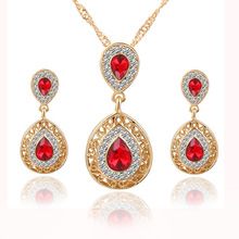 Crystal Rhinestone with gold chain necklace and earring set,Brazilian gold jewelry set, wedding bridal jewelry set for woman