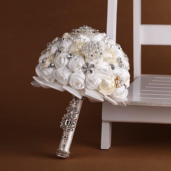 Handmade Artificial Ivory Satin Rose Rhinestone Pearl