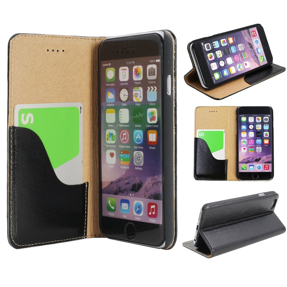 Touching iPhone 6 6s Plus Leather Case Cover (Black) Wallet style Front Flip Flat open holder stand Card slot Back Folio book type Purse 1pc of FREE High Definition (HD) Screen Protector