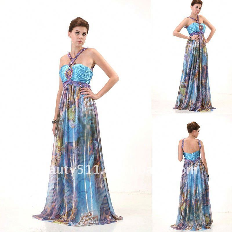 latest style fashion top quality Beading Halter printing prom dress AS098
