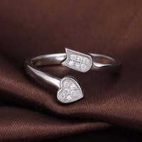 Luxurious Unique Heart and arrow Pave Setting Ladies Ring Designs