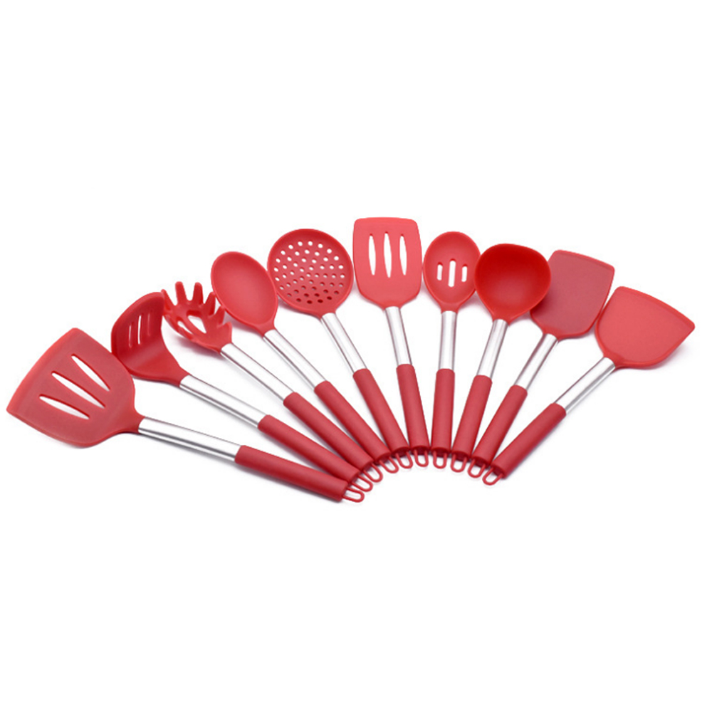 6 piece kitchen utensil set silicone material stainless steel handle multifunction cooking tools