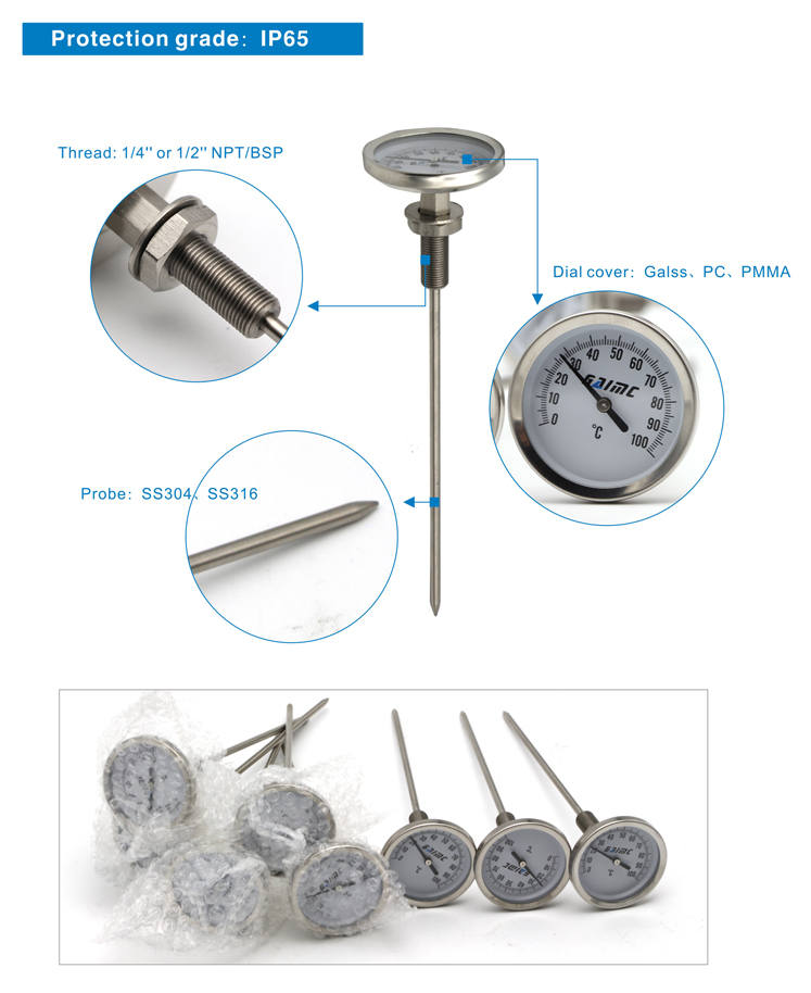 GWSS stainless steel Dial bimetal oven thermometer temperature gauge