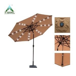 Steel outdoor solar sun garden umbrella parasol with LED lights