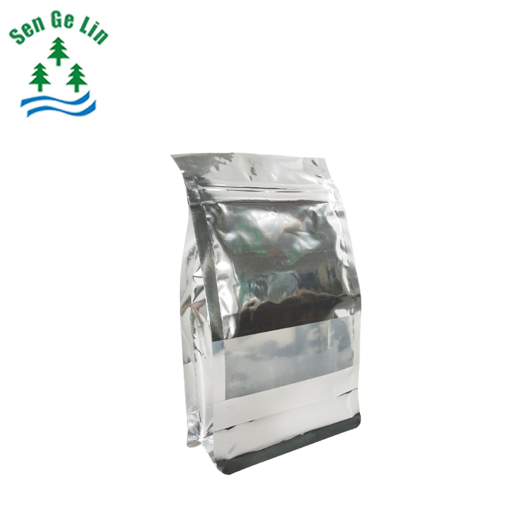 China supplier resealable zipper custom printing silver plastic aluminum foil pouch flat bottom food bag with window