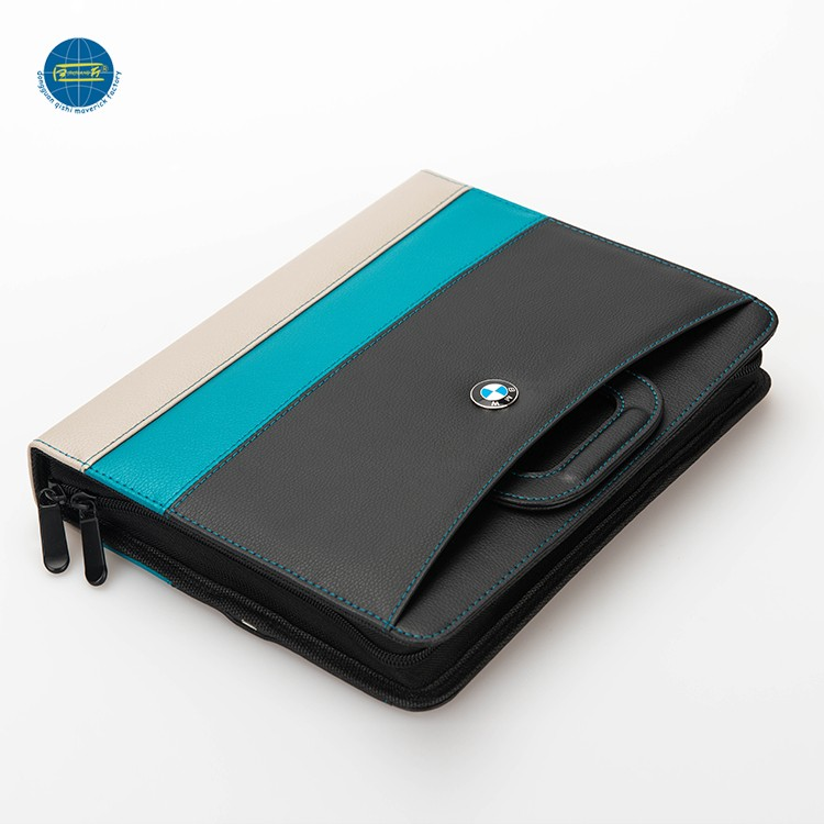 Hot koop mini draagbare rits portfolio case met power bank