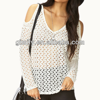 ab881787d09 long sleeve crochet tops v neck loose white sexy net blouses ladies  off-shoulder TOP