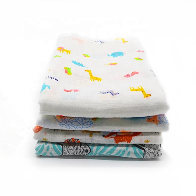 Custom print 120x120cm 100% cotton muslin bamboo baby swaddle blanket, Multicolour
