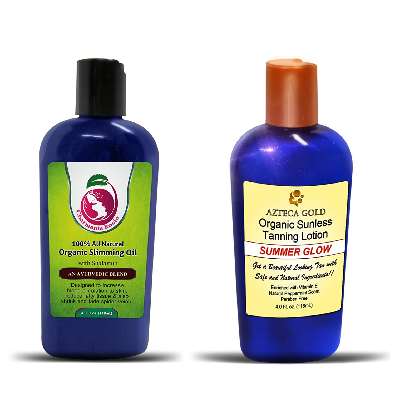 Slim Tan Combo Best Natural Sunless Tanning Lotion and Cellulite reducing Oil - Organic Alternative to Harsh Tanning Products. Slimming Oil Increases Blood Circulation Tighten and Tone Your Skin