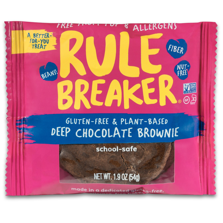 Rule Breaker Snacks, Deep Chocolate Brownie, Healthy and Unbelievably Delicious, Vegan, Gluten Free, Nut Free, Free from Top Eight Allergens, Kosher (12ct pack)