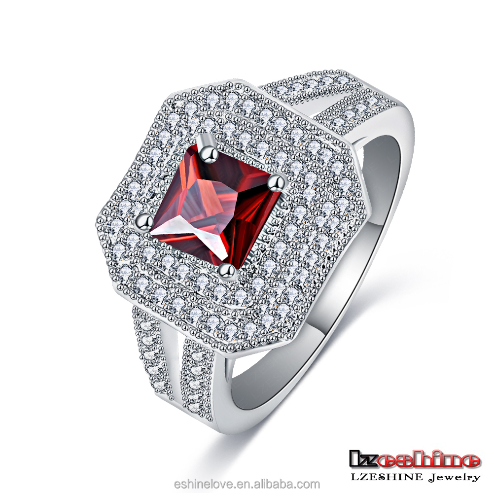 Simple Ruby Austrian Crystals Ring Engagement and Wedding Bague China CRI0067