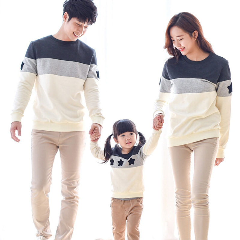 2016 spring and Autumn family clothing spring Couples clothing Dad Mon Kids long sleeved sweater t