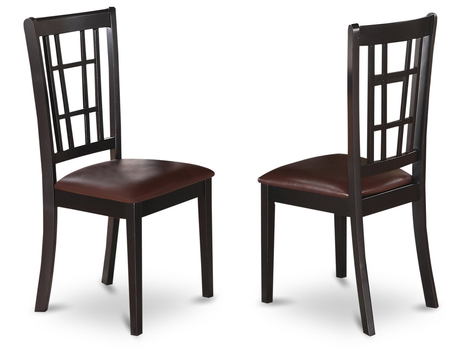 East West Furniture NIC-BLK-LC Dining Chair Set with Faux Leather Upholstered Seat, Set of 2