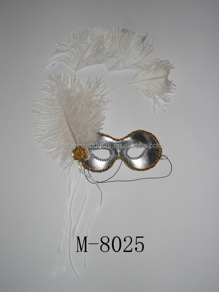 decorative ostrich feather mask for party-- made in China M-8025
