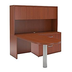 "Mayline L-Shaped Peninsula Desk W/Hutch Overall Dimensions: 72""W X 84""D X 68.5""H 1 5/8"" Thick Work Surfaces Perfect Desk For Home Office/Small Business - Cherry"