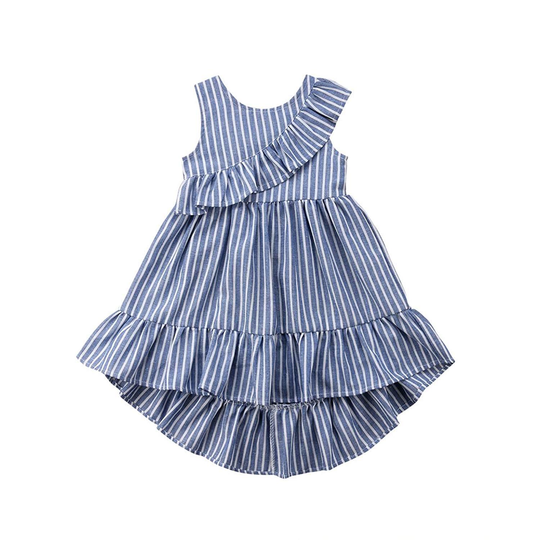 78d85f08324 Get Quotations · beBetterstore Toddlers Baby Girls Striped Irregular Dress  Kids Summer Sleeveless Sundresses