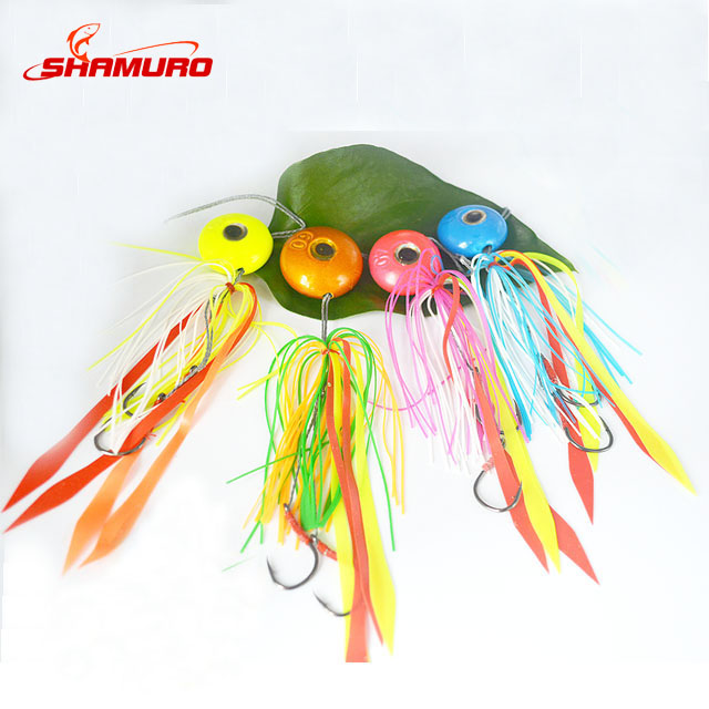 High quality artificial bait fish rubber skirt jig lead head 40g 60g 80g 100g 120g for saltwater fishing