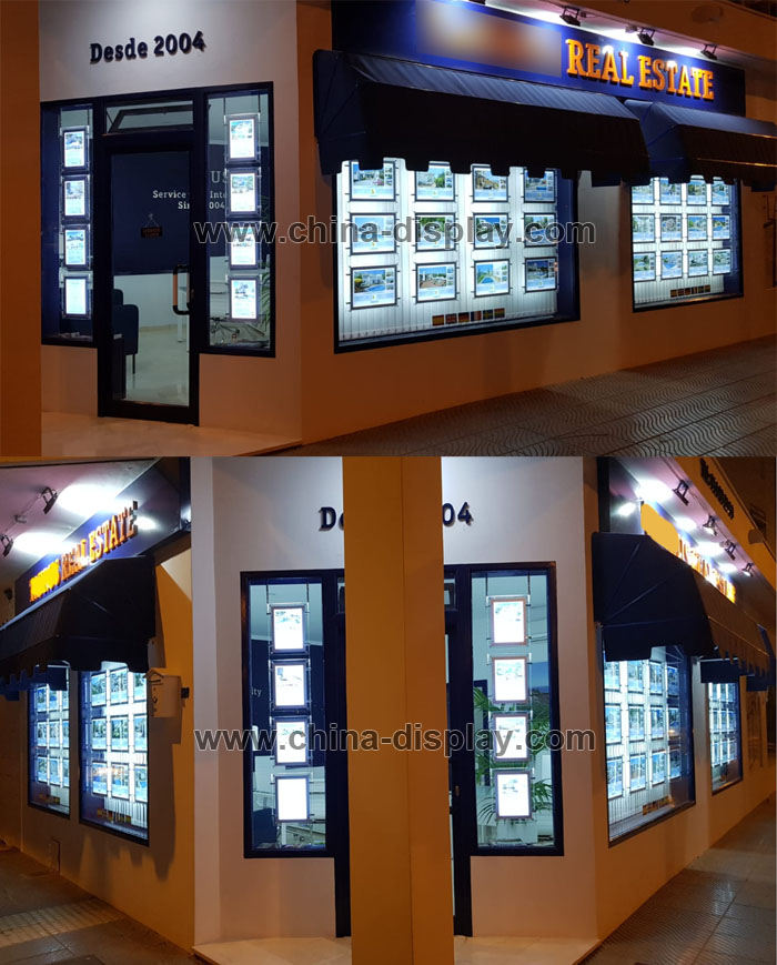 Crystal led Real estate window display frames A3 A4 landscape cable wires hanging kits double side magnetic acrylic light box