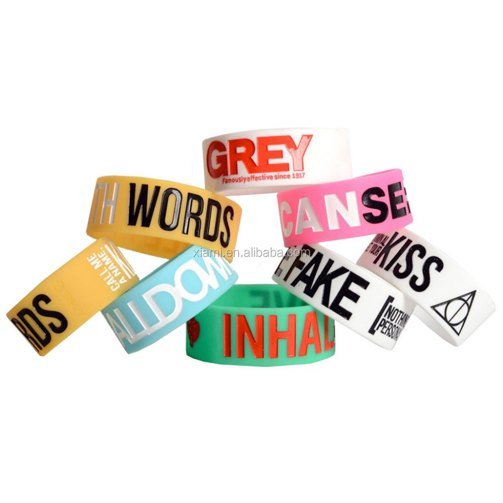 logo printed printing promotional custom no minimum free shipping custom silicone wristband for advertising