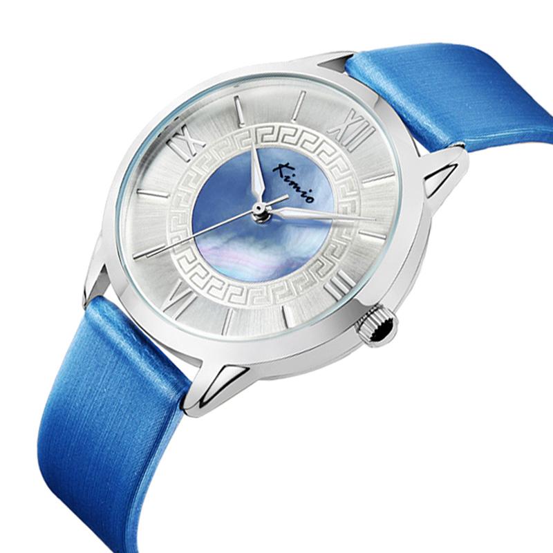 Jw743 новое поступление япония движение часы Kimio марка женщины природного оболочки циферблат часов, Улучшенный кожаный ремешок дамы Relojes