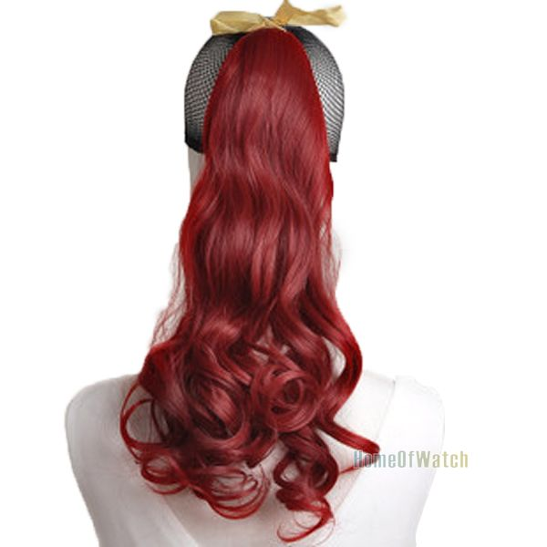 Buy Natural Synthetic Wine Red Curly Ponytail Hair Extensions