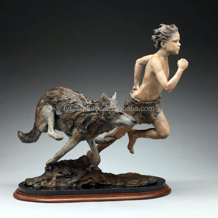 life size lovely bronze running boy with dog statue for outdoor park garden decoration