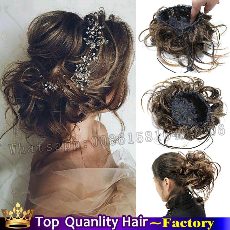 Fake Bun Hair Pieces Clip In Chignon Hairpiece