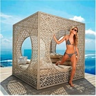 Sun Lounger Bamboo Furniture Daybed 2018 Rattan Weave Cube Outdoor Daybed Canopy Bamboo Garden Furniture