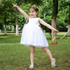 White Mesh And Sequin Kids Party Dress